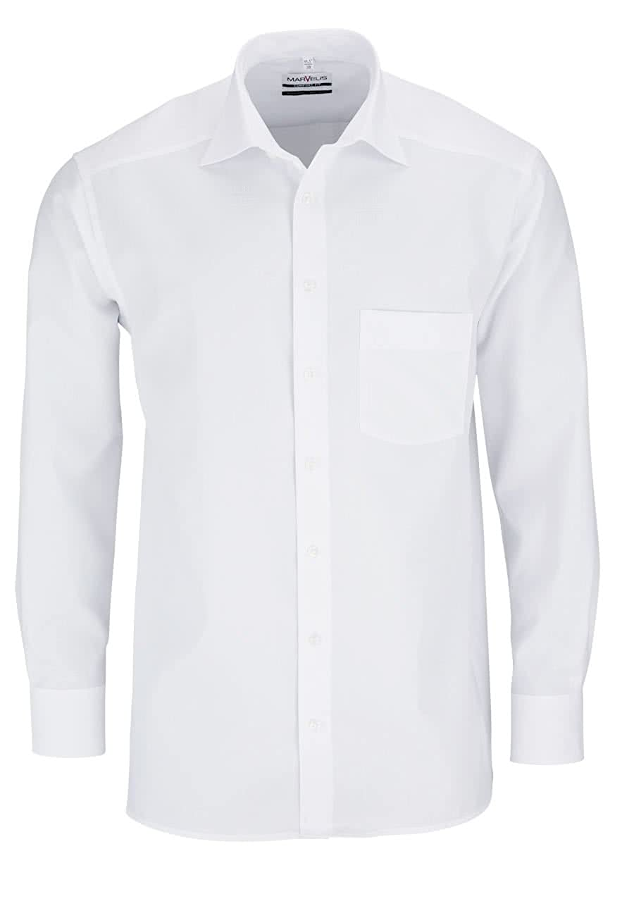Marvelis Comfort Fit Camisa de Hombre New Kent Manga Larga Popelina Color Blanco
