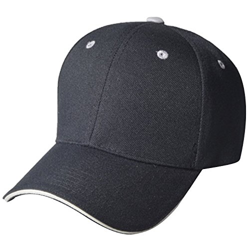 QML SANDWICH Plain Baseball Cap Hat Solid Color, Eyelet Colors Velcro Adjustable ( Many Colors ) (BLACK/LIGHT GREY)