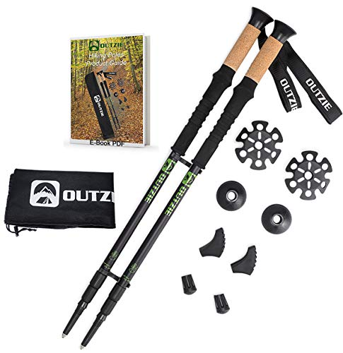 OUTZIE Trekking Poles - 2pc Pack Adjustable Hiking or Walking Sticks - Compact Durable Lightweight Aircraft Aluminum - Cork Grips Padded Strap Shock-Absorbing Quick Adjust Twist Lock E-Book Carry Bag