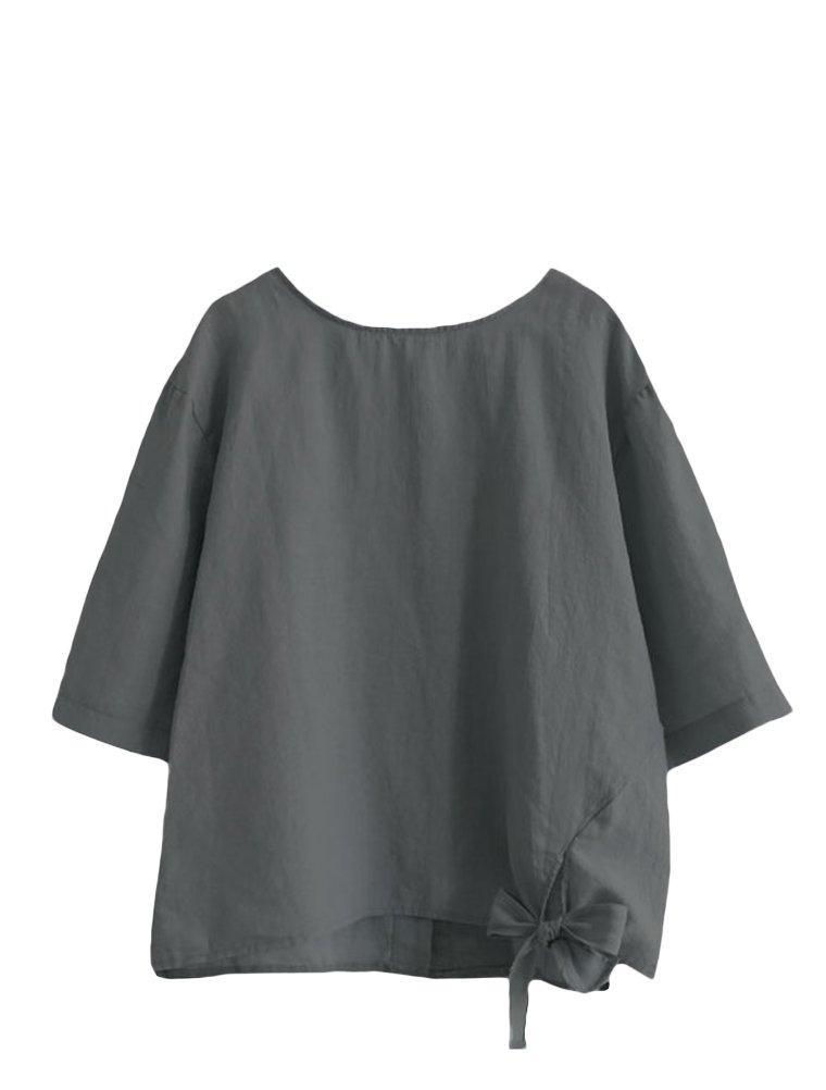 Minibee Women's Cotton Linen Blouse Loose Tunics Tops Shirt 2XL Gray