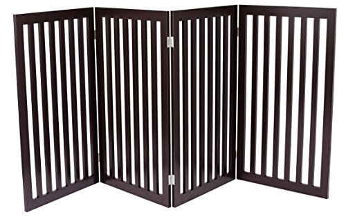 Internet's Best Traditional Pet Gate - 4 Panel - 36 Inch Tall Fence - Free Standing Folding Z Shape Indoor Doorway Hall Stairs Dog Puppy Gate - Fully Assembled - Espresso - MDF