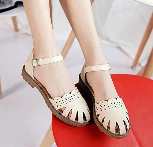 de de sandalias lindo MUJER Universidad flores tacón apricot personalizar damas hollow bajo hebilla Zapatos tamaño zapatos se Burning 40414243 puede gran de Estilo la de GLTER BFqfpw
