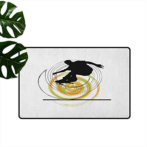 (RenteriaDecor Youth,Kitchen Floor mats Black Silhouette of a Skater Man on Hand Drawn Style Spiral Hobby Activity 16