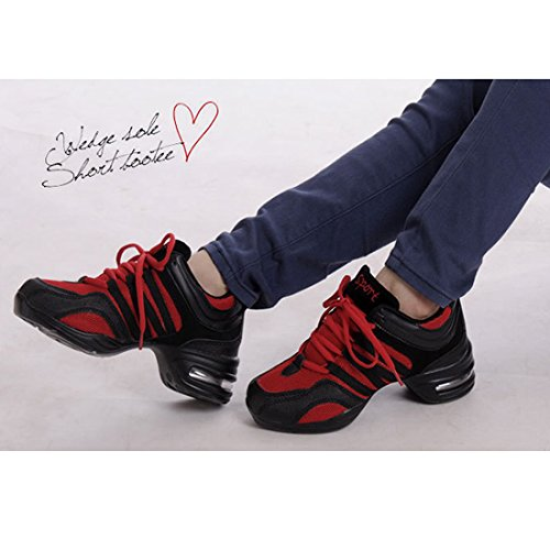 YIBLBOX Ballroom Split Red Lace Womens for Up Sole Shoes Mesh Girls Dance Sneakers Jazz Trainers aqfFarw