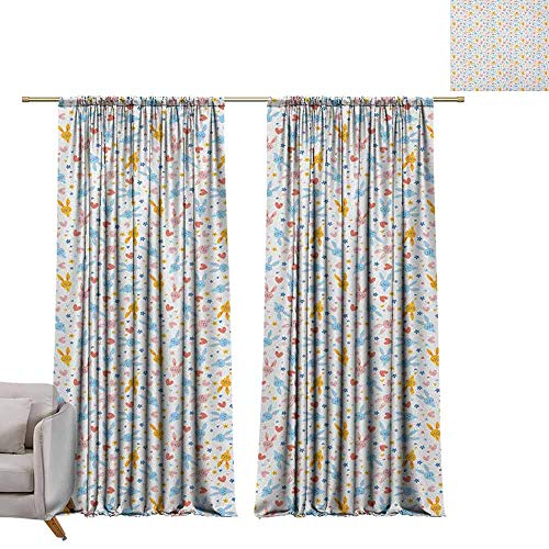 Children Blackout Curtain Pastel,Cute Baby Bunnies Flowers and Hearts Friendly Kids Cartoon Characters, Marigold Pale Blue Coral W72 x L108 Living Room Curtain