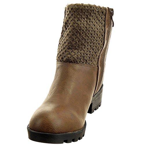 Sopily - damen Mode Schuhe Stiefeletten Reitstiefel - Kavalier Biker gesteppt schuhe Reißverschluss Schuhabsatz Blockabsatz - Braun