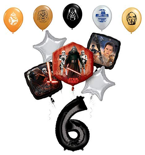 Star Wars 6th Birthday Party Supplies Foil Balloon Bouquet Decorations with 5pc Star Wars 11