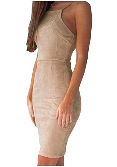 3430544f350 XQS Women Elegant FauxSuede Backless Solid Colored Pencil Dress at Amazon  Women's Clothing store: