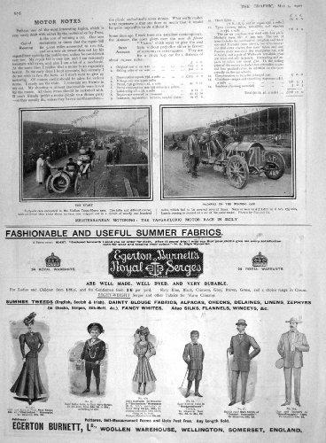 old-print Print 1907 Targa-Florio Motor Car Race Sicily Nazarro Egerton