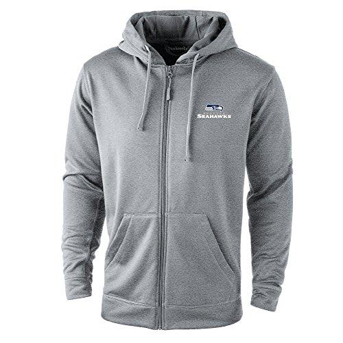 Dunbrooke Apparel NFL Seattle Seahawks Trophy Tech Fleece Full Zip Hoodie, 4X-Large, Grey