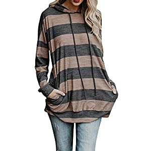 Coutgo Women's Striped Patchwork Hoodies Top With Pocket Sweatshirt Pullover (L, Z - Grey)