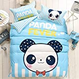 LA MEJOR Queen Size Cotton & Microfiber M. panda Bedding Set Bed Linens Duvet Cover Sets Without Comforter (Queen, 1 Flat Sheet+1 Duvet Cover+2 Pillowcases)