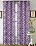 1 Set Lilac White 95'' Geometric Lined Blackout Grommet Window Drape Curtain