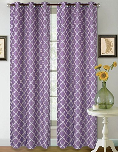 1 Set Lilac White 95'' Geometric Lined Blackout Grommet Window Drape Curtain by Modern Curtain