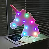 AIZESI Unicorn Lights,Led Unicorn Lamps,Marquee Battery Operated Table Led Lights Wall Decoration for Girls Bedroom,Living Room, Christmas,Party as Kids Gift (Pink-Multicolour)