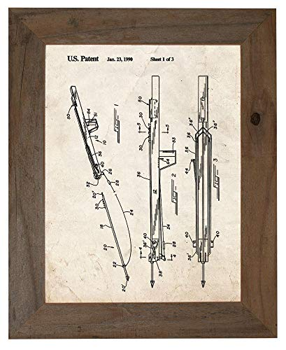 (Underwater Spear Gun Patent Art Old Look Print in a Barnwood Frame (8.5