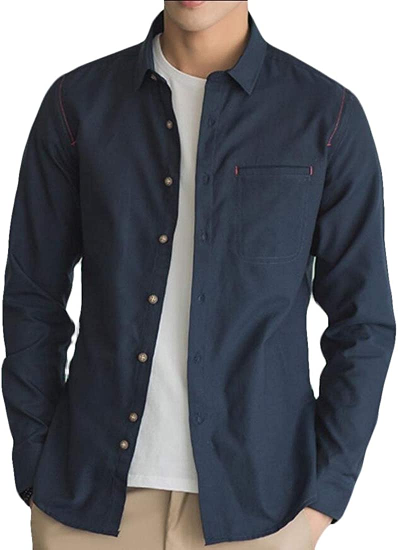 Keaac Mens Shirts Slim Fit Shirts Long Sleeve Casual Button Down Tops Blouses
