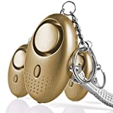 Emergency Personal Alarms 140DB Siren Song Security Electronic Device Self-Defense Protection Safety Alarm Keychain with LED Light for Women Girls Kids Elderly - 3 Pack Gold