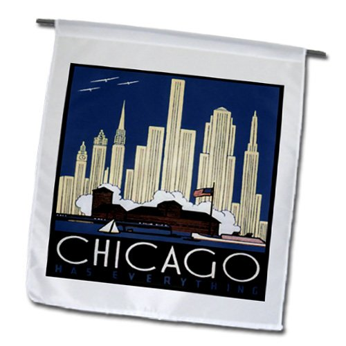 Cheap 3dRose fl_182395_1 Print of Chicago Skyline Poster in Art Deco Style Garden Flag, 12 by 18-Inch