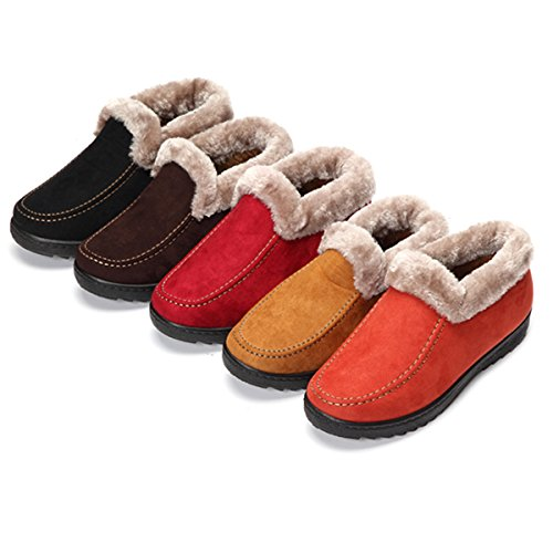 Suede Boots Winter Slip Snow Ankle Lining Waterproof Soft Boots Women's Warm Non Booties Plush Yellow gracosy UFH8qdH