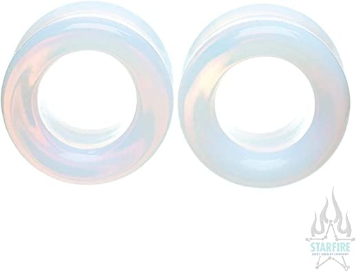 Pair of Opalite Stone Double Flared Eyelets 7//8
