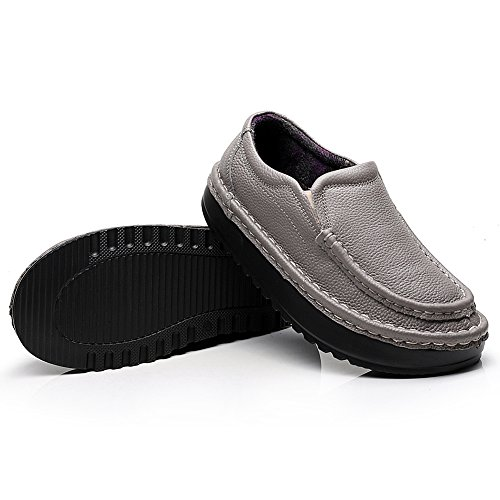Femme forme Sur Confort Plate Shenn Cuir Gris 2601 Baskets Glisser Chaussures f6nxddEqUw