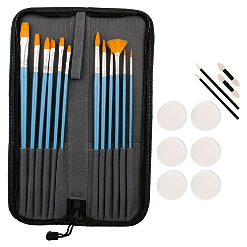 Custom Body Art Halloween Face Paint 12-Piece Premium Nylon Hair Brush Set with Carry Case & 10-Piece Sponge Pack ()