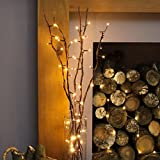 Festive Lights 5 x 87cm Decorative Twig Lights with 50 Warm White LEDs (Brown)