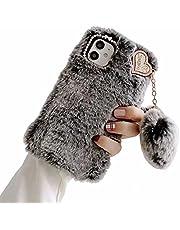 TYWZ Pluche Case voor Samsung Galaxy A72 5G/4G, Girly Faux Konijnenbont Pluizige Cover Stijlvolle Leuke Zachte Warme Winter Harige Case Bumper met Hart Bal Hanger-Grijs