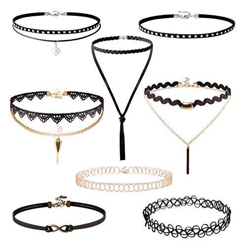 [Jane Stone Vintage Black Velvet Choker Necklace Gothic Jewelry with Pearl and Infinity(Fn2141-8set)] (Vampire Suit)