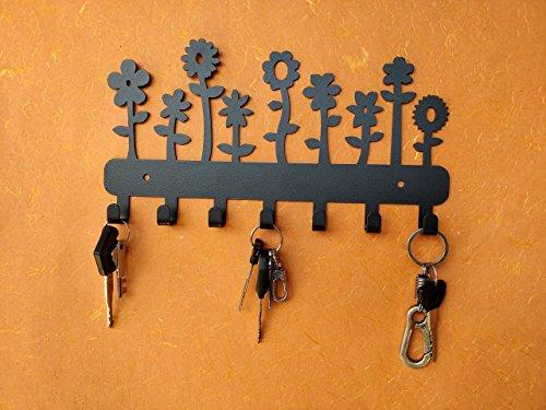 HeavenlyKraft Flowers Wall Mounted Metal Key Holder, Key Rack Organizer for Entryway and Kitchen - Wall Mounted, Key Organizer, Metal Key hook, 10.6 X 5.7 X 0.8 INCH