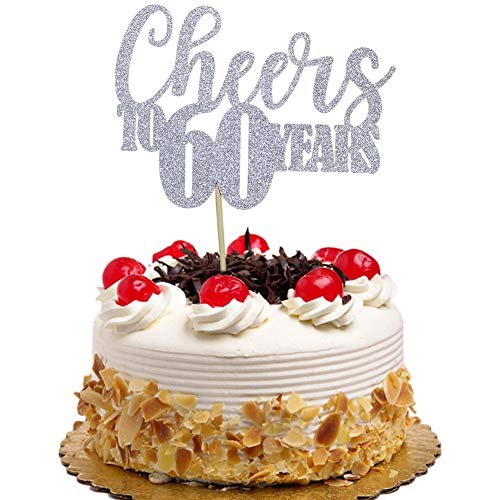 Cheers to 60 Years Cake Topper for 60th Birthday Wedding Anniversary Party Decorations Silver Glitter ()