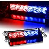 WoneNice 8 LED Strobe Dash / Deck / Windscreen Light Bar Beacon (Red/Blue)