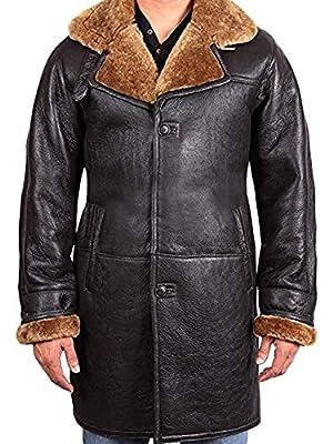 Men's WW2 Pilot Flying Ginger Shearling Faux Fur Black Leather Duffle Coat