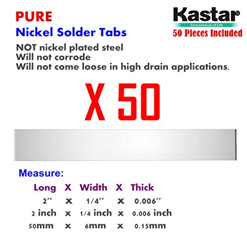 Kastar Pure Nickel Solder Tab (50 Pieces), commercial grade best suited for heavy duty, high current and hig capacity battery packs. Build your own RC Toys and Power Tool battery pack DIY projects.