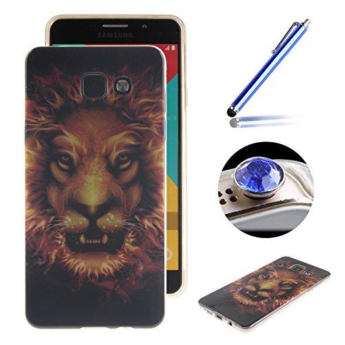 Etsue Caso para Samsung Galaxy A5(2016),Funda de silicona TPU Negro patrón de la caja ultrafina para Samsung Galaxy A5(2016),Suave diáfano de colores patrón para Samsung Galaxy A5(2016) + Gratis 1 x B León de oro