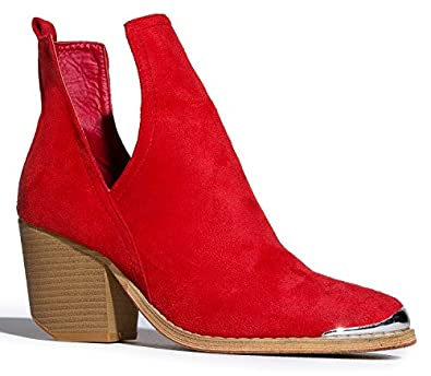Amazon.com | Western Slip On V-Cut Out Stacked Heel Bootie