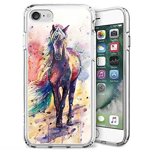 Watercolor Horse iPhone 7 8 Case Customized Design Anti-Scratch Flexible Shock Absorption Soft TPU Protective Phone Case For iPhone 7 8-Clear