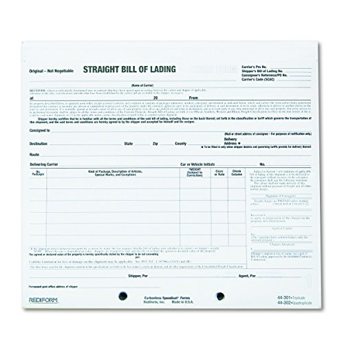 Rediform Bill of Lading, Snap-A-Way, Ruled, 3-Part, Carbonless, 8.5 x 7 Inches, 250 Individual Forms - Lading Form Short