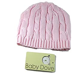 Baby Dove Infant Cardigan Sweater and Beanie Cap sets for girls (6M, Pink)