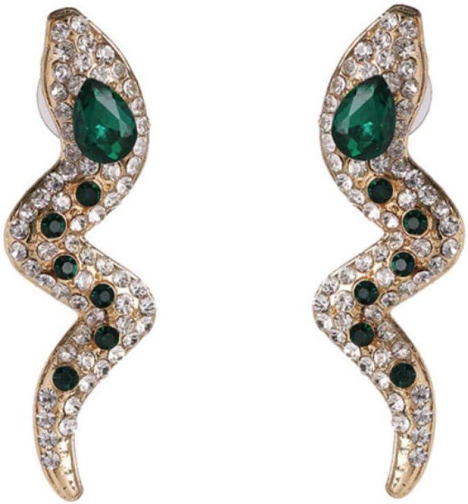 Pendientes para Mujer Acrílico Diamante de imitación Serpiente en Forma de Largo Rojo Verde Cristal Colgante Stud Pendientes Joyas para niñas