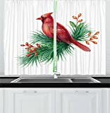 cardinal kitchen - Lunarable Cardinal Kitchen Curtains, Watercolor Illustration of South American Bird Resting on a Branch, Window Drapes 2 Panel Set for Kitchen Cafe Decor, 55