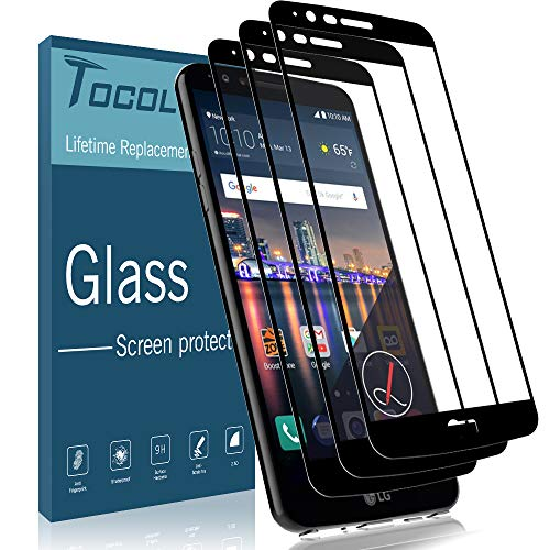 [3 Pack] TOCOL Screen Protector for LG Stylo 3, [Full Cover] 0.33mm Tempered Glass [Case Friendly] [Japan Glass with 9H Hardness] with Lifetime Replacement Warranty