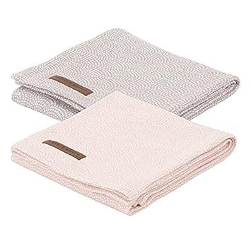 f399c1a8452f46 LITTLE DUTCH 3636 Muslin Swaddle Tuch - waves pink & mauve (Set aus 2  designs