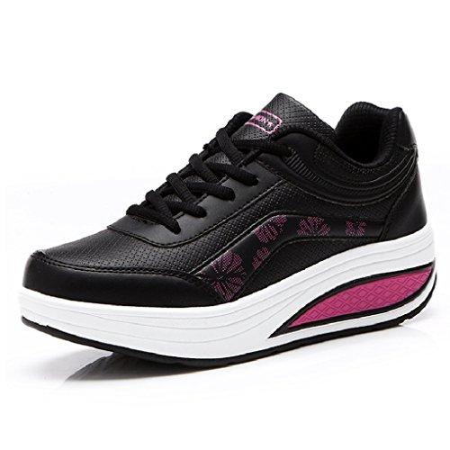 Cybling Moda Al Aire Libre Para Mujer Ejercicio Atlético Zapatos Para Caminar Deportes Running Cuña Zapatillas De Deporte Negro