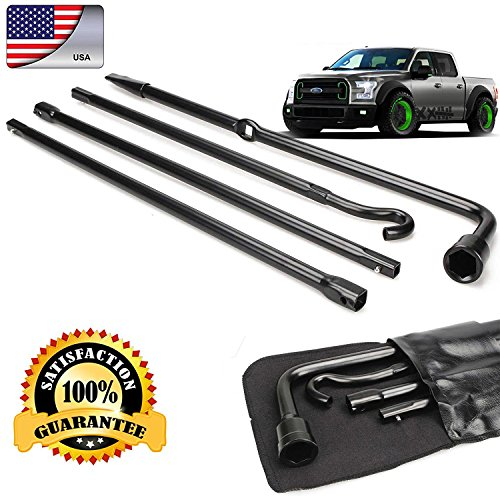(Truck Spare Tire Changing Repair Tool for Ford F150 2004-2014 Car Wheel Remove Jack Replace Irons OEM Lug Nut Wrench Extension 4Pcs Kit Set with Bag US Ship)