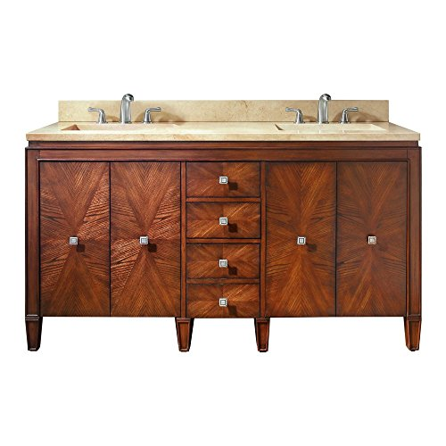 "Avanity Brentwood 61"" vanity with Galala Beige marble top in New Walnut finish"