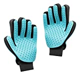 GES 2PCS Pet Grooming Tool Furniture Hair Remover Mittens Brush Hair Deshedding Glove for Dog Cat Long & Short Fur - Bathing Massage Comb (Light Blue)