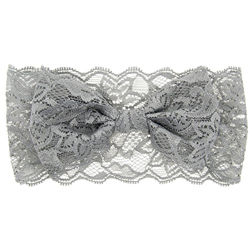 Baby Girl's Floral Lace Headbands Bowknot for Newborn Toddler and Kids (Grey)