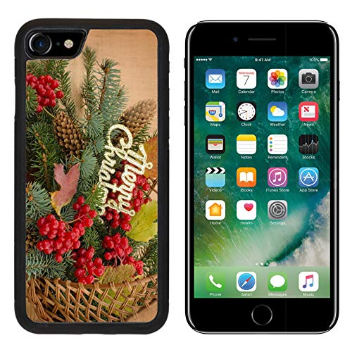 Liili Premium Apple iPhone 8 Aluminum Backplate Bumper Snap Case Image ID 32511468 Viburnum Berries and Spruce Branches are Wicker Basket